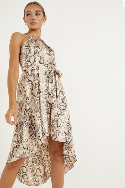 Stone Snake Print Dip Hem Dress